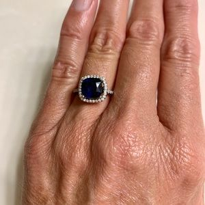 Sterling Silver Blue Sapphire with rhinestone ring
